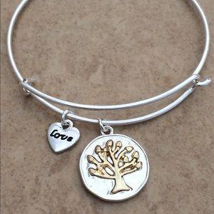 Jewelry - Two Tone Tree of Life Charm Bangle Bracelet